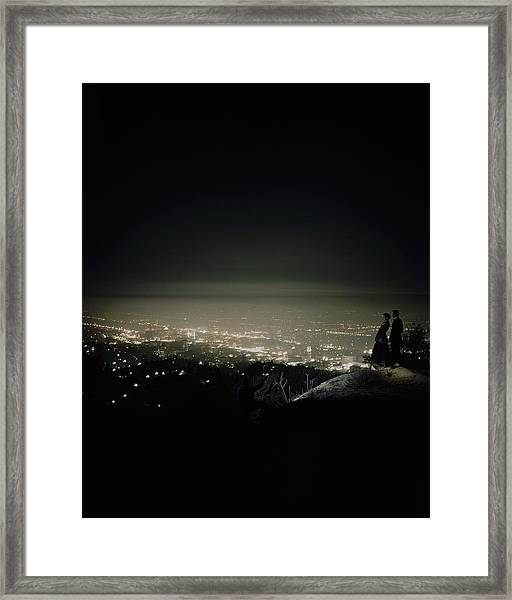 A City At Night Framed Print