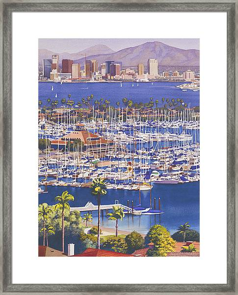 A Clear Day In San Diego Framed Print
