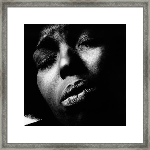 A Close-up Of Roberta Flack Framed Print
