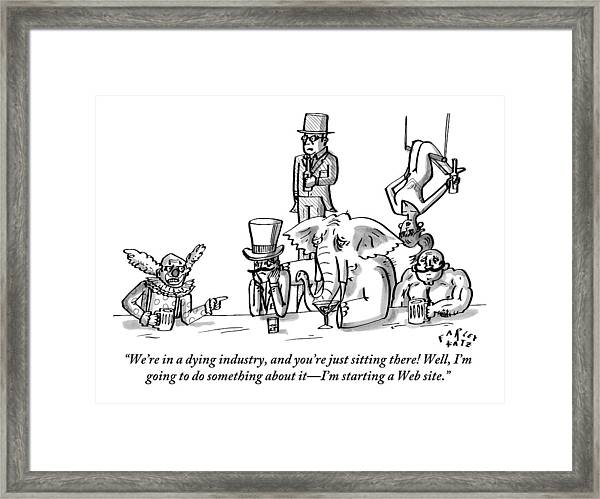 A Clown Gives Advice To A Disheartened Group Framed Print