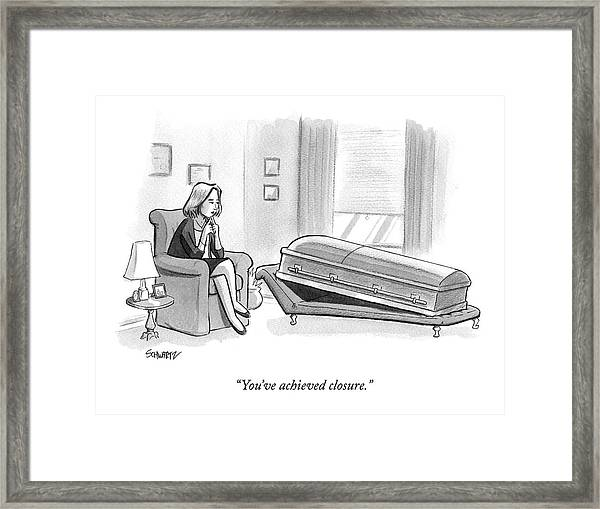A Coffin Lays On An Analyst's Couch Framed Print