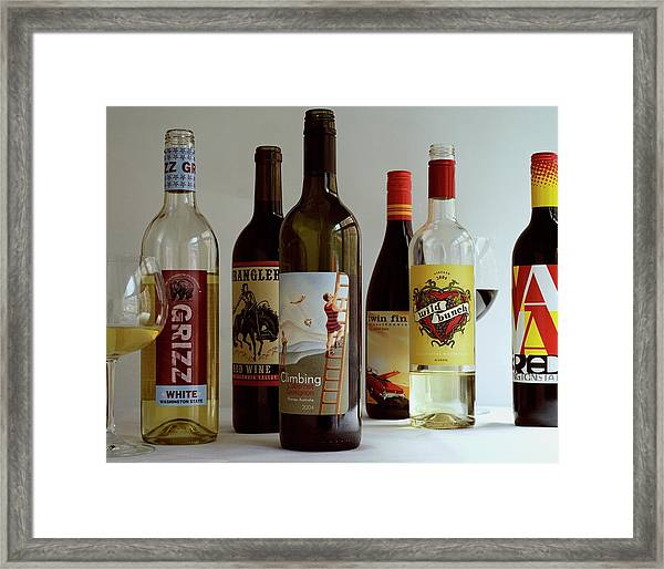 A Collection Of Wine Bottles Framed Print