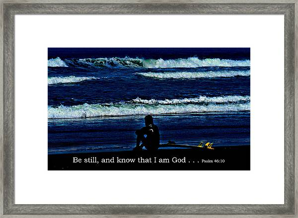 a contemplative surfer  - Psalm 46 - 10 Framed Print