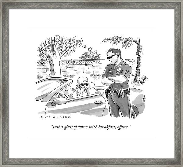 A Cop Pulling Over A Pretty Blonde Woman Framed Print