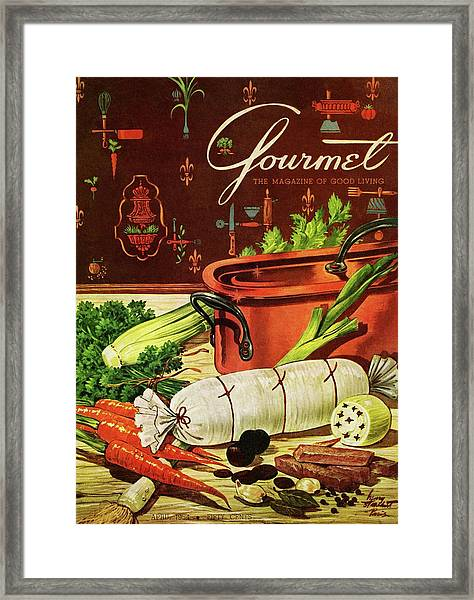 A Copper Pot And Ingredients Of Ballontine De Framed Print