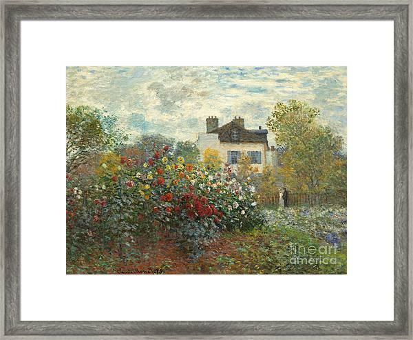 A Corner Of The Garden With Dahlias Framed Print