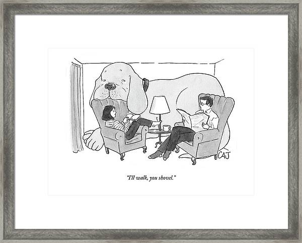 A Couple In The Living Room With Giant Dog Framed Print