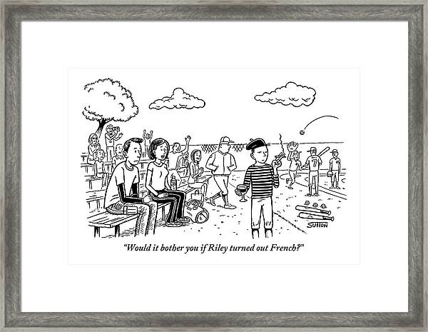 A Couple Look On At Their Son Who Is Dressed Framed Print