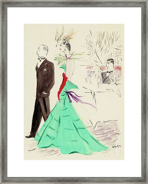 A Couple Standing In Profile Framed Print