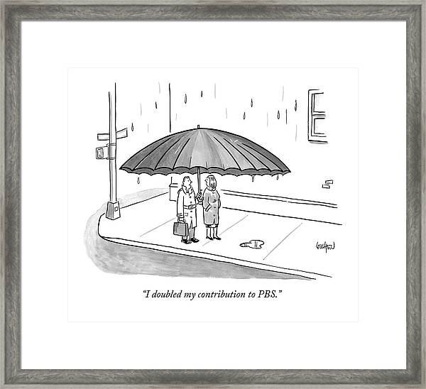A Couple Under A Gigantic Umbrella On A City Framed Print
