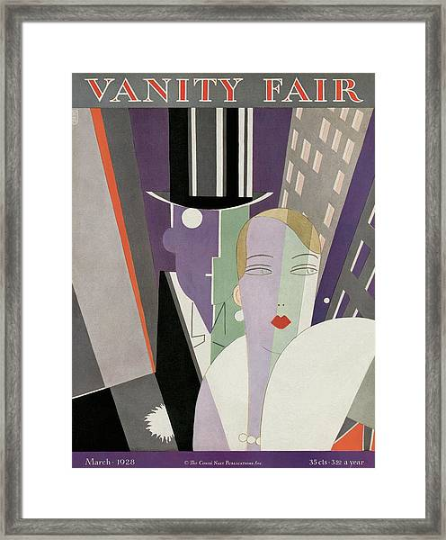A Couple Wearing Evening Clothes Framed Print