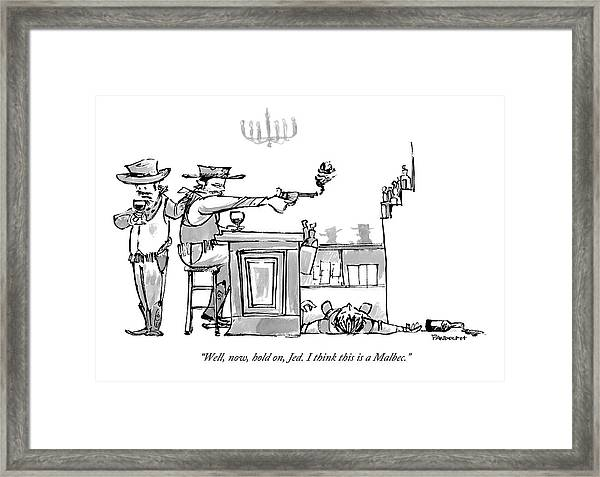 A Cowboy In A Saloon Has Just Shot The Bartender Framed Print