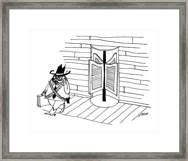 A Cowboy With A Briefcase Leaves An Office Framed Print