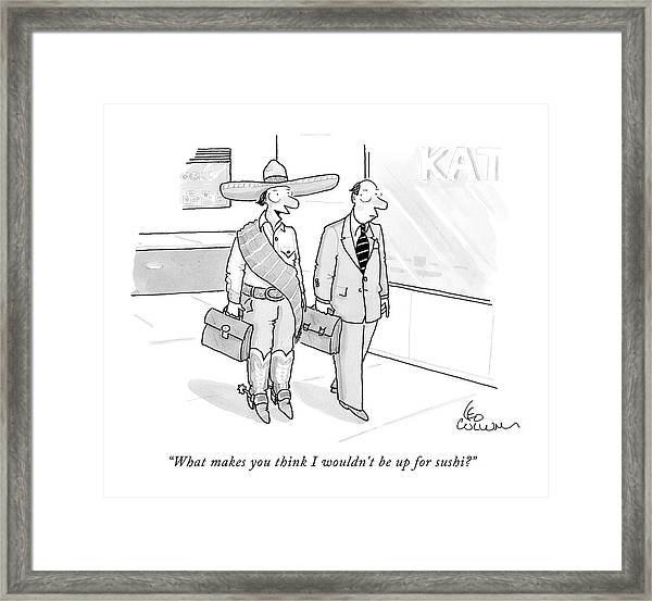 A Cowboy With A Briefcase Talks To A Businessman Framed Print
