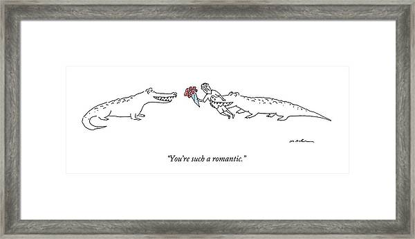 A Crocodile To Another Crocodile With A Person Framed Print