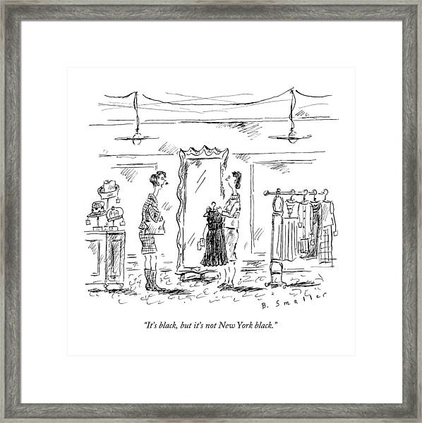A Customer In A Dress Shop Speaks To A Saleswoman Framed Print