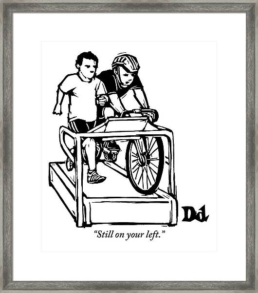 A Cyclist Says To A Jogger. They Are Both Framed Print