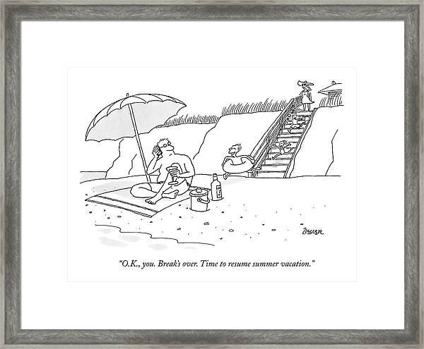 A Dad Seated Beneath An Umbrella At The Beach Framed Print