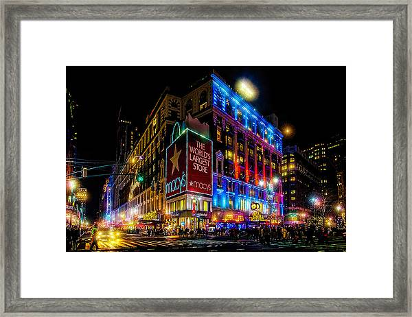 A December Evening At Macy's  Framed Print