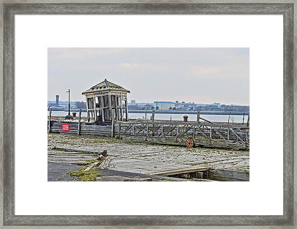 A Derelict Kiosk On A Disused Quay In Liverpool Framed Print