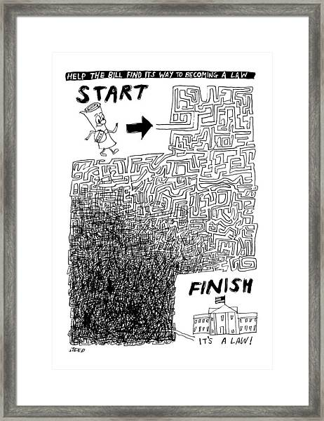 A Diagram Showing A Tangled Maze Framed Print