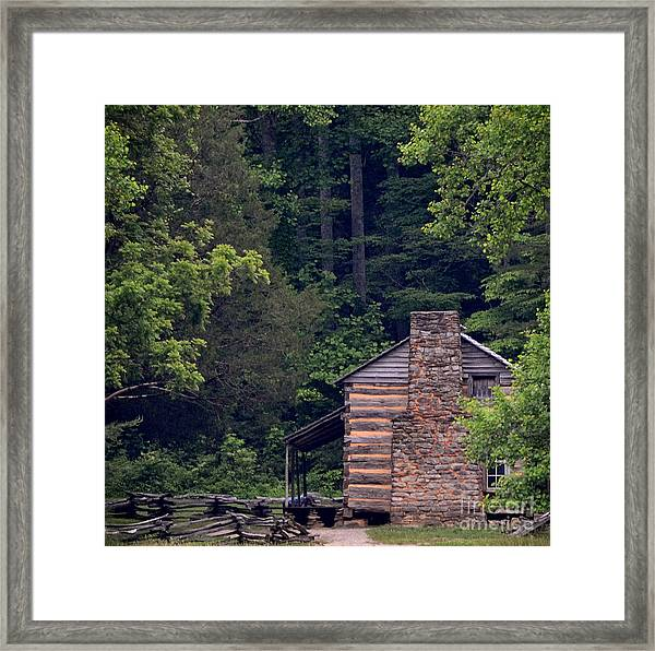 A Different View Of A Mountain Cabin Framed Print by Eva Thomas