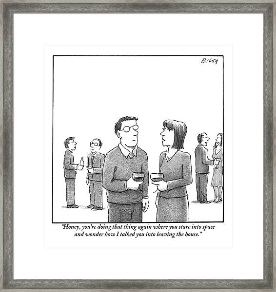 A Disgruntled-looking Woman Speaks To Her Husband Framed Print
