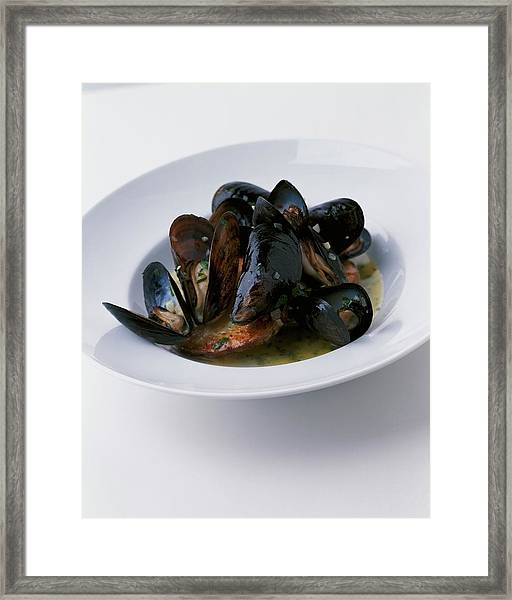 A Dish Of Mussels Framed Print