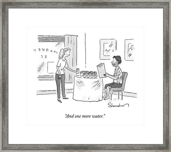 A Disheveled Man In A Restaurant Orders A Dozen Framed Print