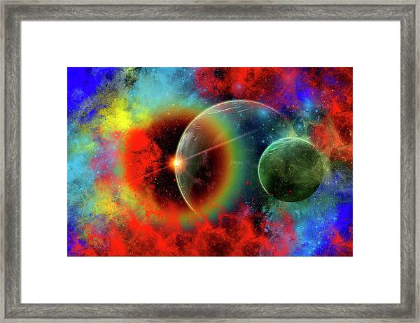 A Distant Alien World And Its Moon Framed Print