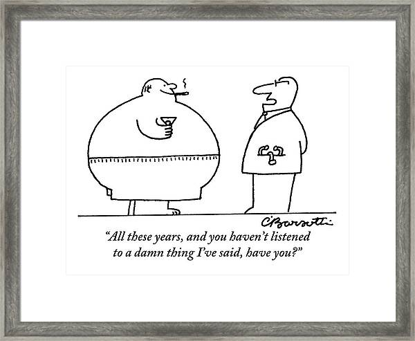 A Doctor Addresses A Fat Man Who Is Smoking Framed Print