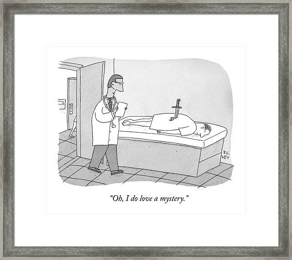 A Doctor Enters An Examination Room Where Framed Print