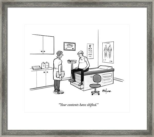 A Doctor Talks To An Old Man With A Gut Framed Print