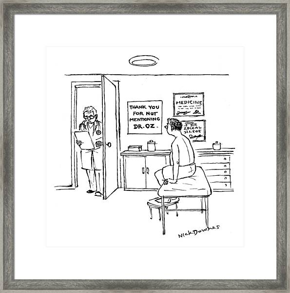 A Doctor Walks Into An Office Where A Patient Framed Print