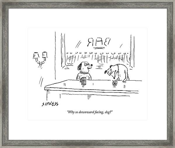 A Dog Addresses Another Dog In A Bar Framed Print