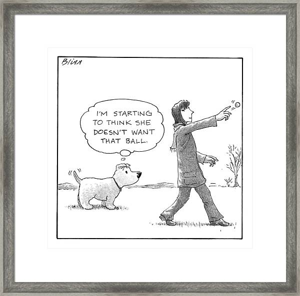 A Dog Thinks To Himself As A Woman Throws A Ball Framed Print