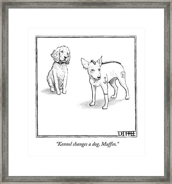 Kennel Changes A Dog Muffin Framed Print