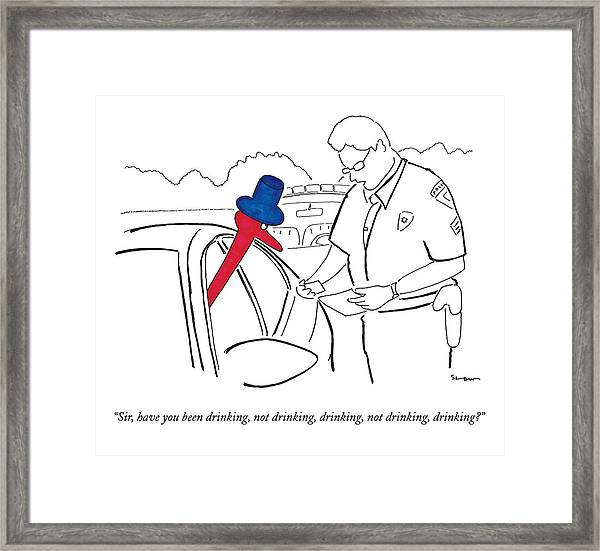 A Drinking Bird Toy Is Pulled Over By A Policeman Framed Print