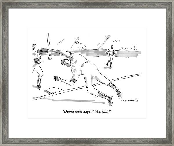 A Falling Baseball Player Fails To Catch A Ball Framed Print