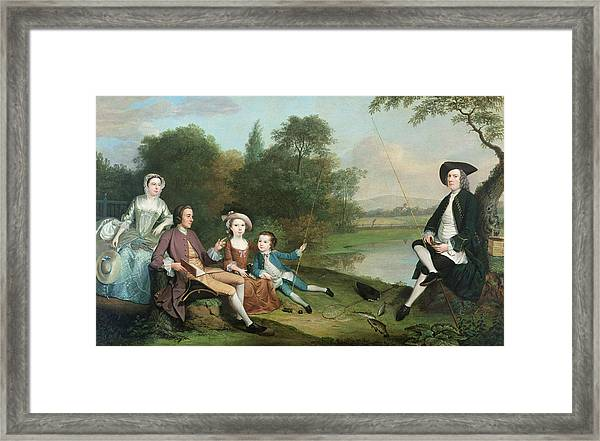 A Family Of Anglers, 1749 Oil On Canvas Framed Print