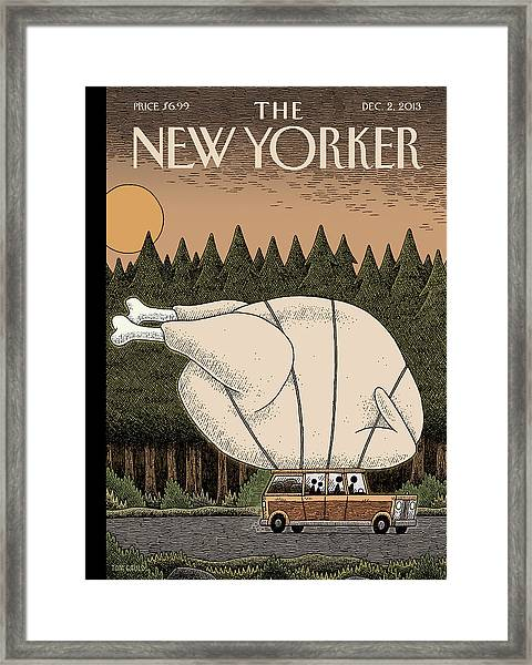 A Family Rides Home With A Giant Turkey Tied Framed Print