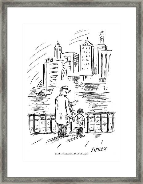 A Father And Son In Brooklyn Look Framed Print