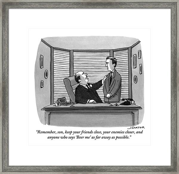 A Father Behind A Desk Addresses His Grown Up Son Framed Print