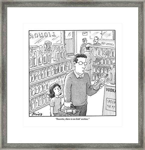 A Father, Bottle In Hand, Speaks To His Young Framed Print