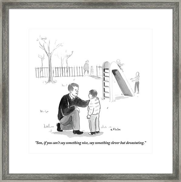 A Father Encourages His Son At The Playground Framed Print