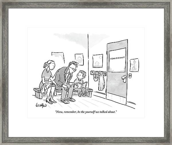 A Father Leans In To Give Advice To His Son Framed Print