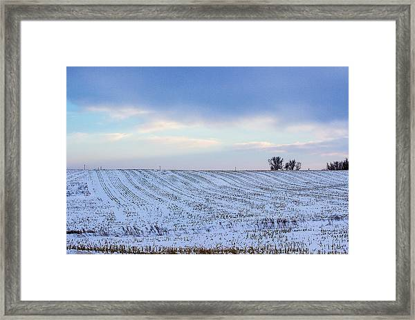 A Field In Iowa At Sunset Framed Print