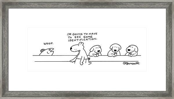 A Fish At A Dog Bar Says Framed Print
