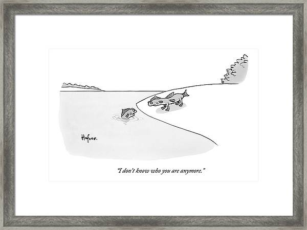 A Fish In Water Talks To Another Fish Which Framed Print