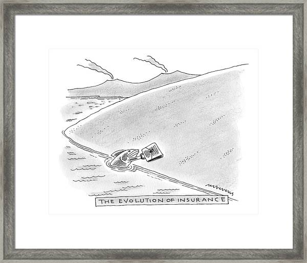 A Fish Reaches Out From The Water Holding Framed Print